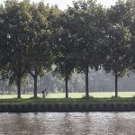 man on bicycle rides along amsterdam rijn kanaal in the netherlands